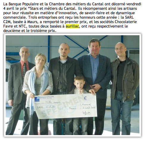 L'Union du Cantal - 16 avril 2008 : La transmission du savoir faire honorée.